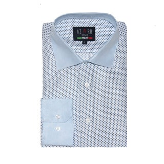 Azaro Uomo Men's Dot Blue Button Down