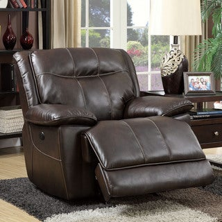 Furniture of America Loffman Brown Bonded Leather Power-Assist Recliner