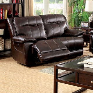Furniture of America Loffman Brown Bonded Leather Power Assist Reclining Loveseat