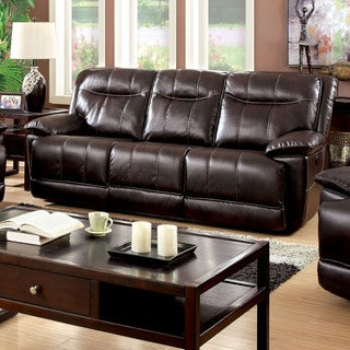 Furniture of America Loffman Brown Bonded Leather Power Assist Reclining Sofa