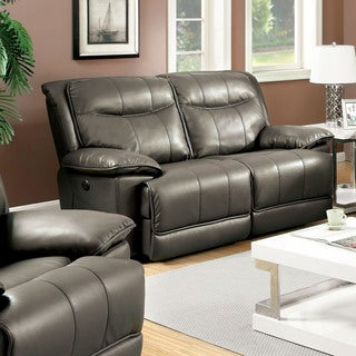 Furniture of America Loffman Grey Bonded Leather Reclining Loveseat