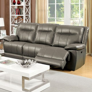 Furniture of America Loffman Grey Bonded Leather Reclining Sofa