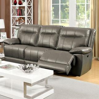 Furniture of America Loffman Grey Bonded Leather Reclining Sofa