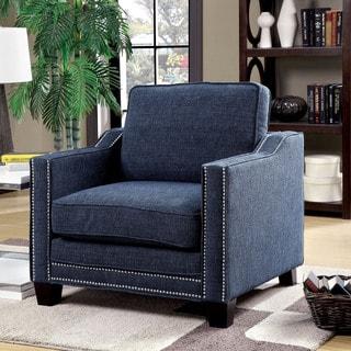 Furniture of America Armensio Contemporary Blue Chenille Arm Chair