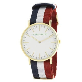 Laura Ashley Ladies Gold Ultra-thin Case Watch with Blue White and Pink Knitted Colored Band