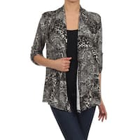 Moa Collection Women's Leopard Print Open Front Cardigan