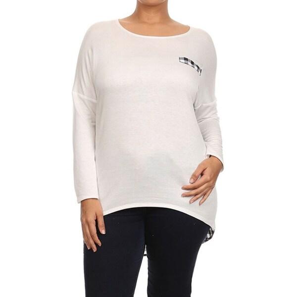 Moa Collection Women's Plus Size Plaid Contrast Top