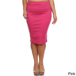 Moa Collection Women's Plus Size Women's Solid Pencil Skirt (More options available)