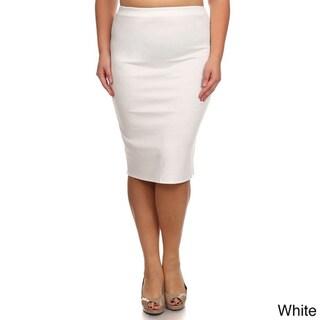 Moa Collection Women's Plus Size Women's Solid Pencil Skirt