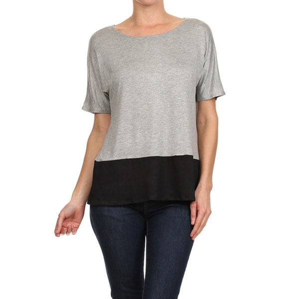 MOA Collection Women's Colorblock Loose Fit T-Shirt