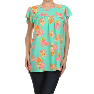 Moa Collection Women's Floral Print Keyhole Blouse