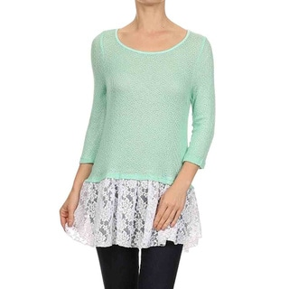 Moa Collection Women's Pleated Lace Trim Top