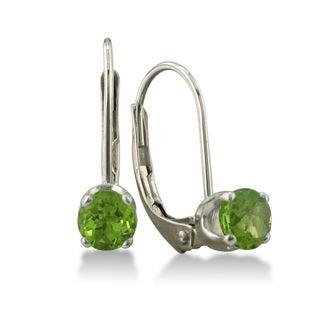 1/2 Carat Peridot Leverback Earrings In 14 Karat White Gold