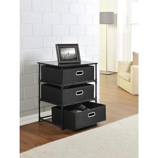Ameriwood Home Sidney Black 3-bin Storage End Table