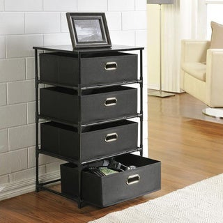 Ameriwood Home Sidney Black 4-drawer Storage End Table