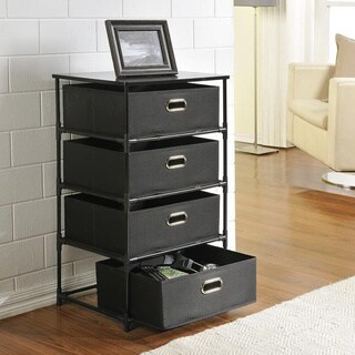 Ameriwood Home Sidney Black Metal/Canvas 4-drawer Storage End Table