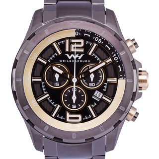 Weil & Harburg Thornton Swiss Chronograph Men's Watch 50mm Stainless Steel Case & Stainless Steel Link Bracelet