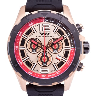 Weil & Harburg Thornton Swiss Chronograph Men's Watch 50mm Stainless Steel Case & Silicone Strap