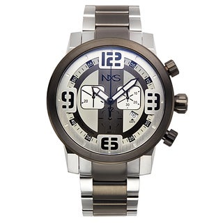 NXS Swiss Chronograph Moto Men's Watch 22 mm Stainless Steel Brecelet Mulitple Layered Dial