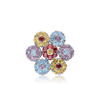 Collette Z Sterling Silver Cubic Zirconia Jewel Floral Pin