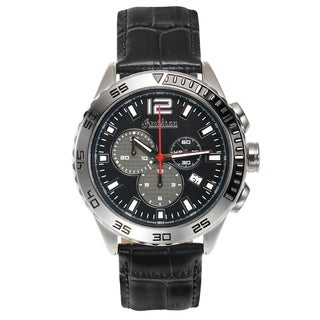 Omikron Bateleur Swiss Chronograph Men's Watch Quartz Stainless Steel Case and Genuine Leather Strap