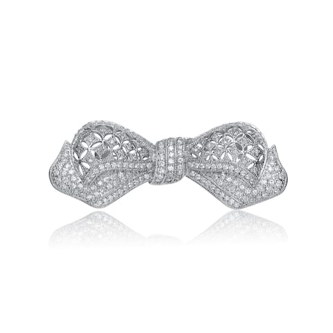 Collette Z Sterling Silver Cubic Zirconia Bow Pin