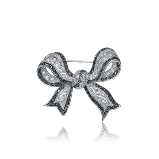 Collette Z Sterling Silver Cubic Zirconia Black and White Bow Pin