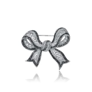 Collette Z Sterling Silver Cubic Zirconia Black and White Bow Pin|https://ak1.ostkcdn.com/images/products/11046255/P18058728.jpg?impolicy=medium