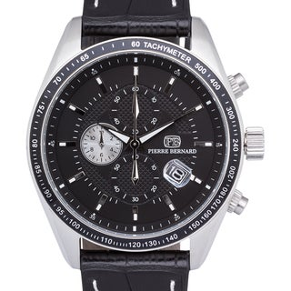 Pierre Bernard Esperto Chronograph Men's Watch with Quartz Movement, Tachymeter, and 44 mm Stainless Steel Case