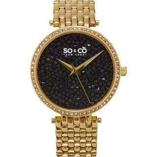 SO&CO New York SoHo Women's Quartz Stainless Steel Crystal Bracelet Mothers Day Gift Watch (Option: Gold tone / Black)