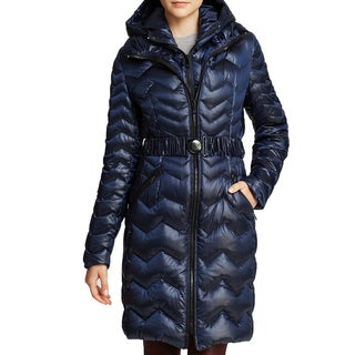 DL2 By Dawn Levy Karen Blue Zigzag Hooded Belted Puffer Coat