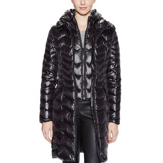 DL2 By Dawn Levy Karen Black Zigzag Hooded Belted Puffer Coat