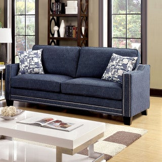 Furniture of America Armensio Contemporary Blue Chenille Sofa