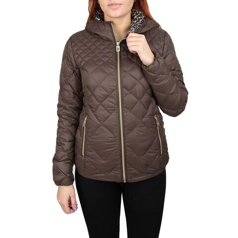 Michael Michael Kors Coffee Brown Leopard Hood Packable Coat