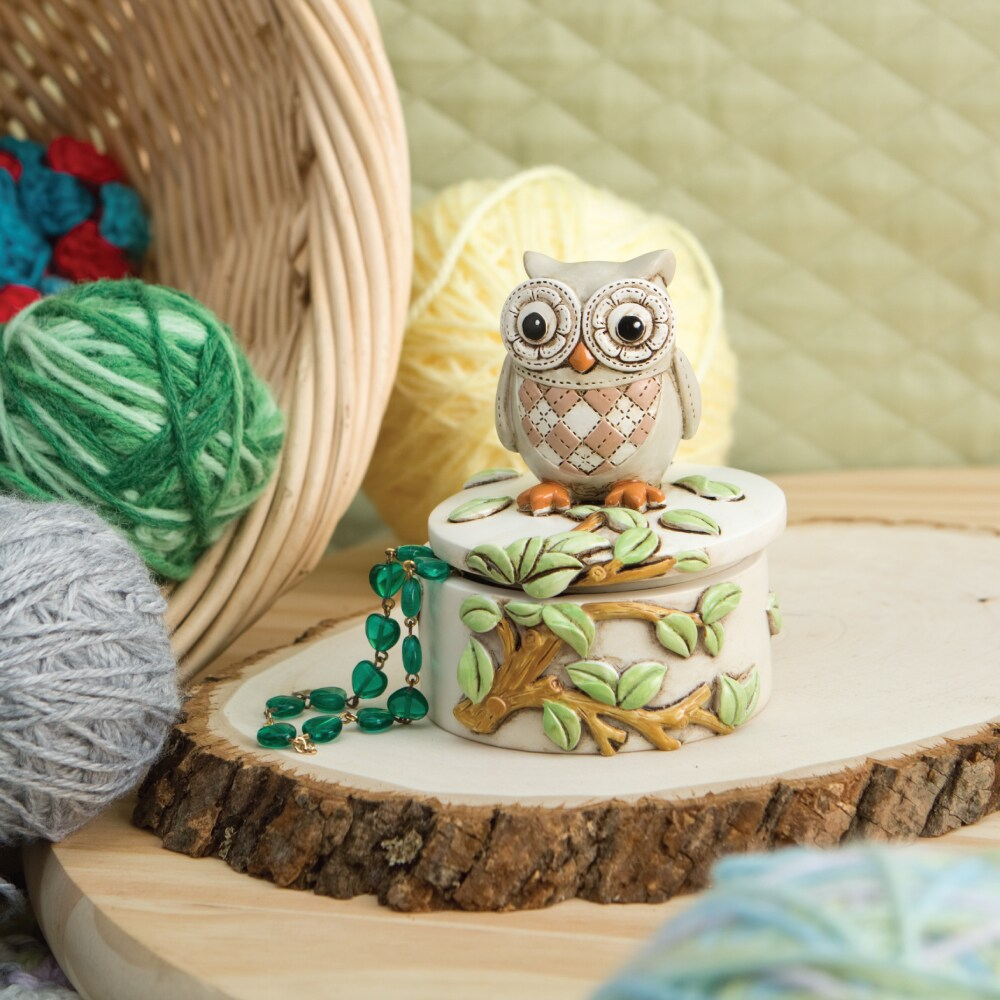 FashionCraft Owl On A Branch Trinket Box (Natural tone bo...
