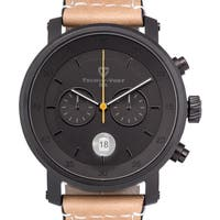 Tschuy-Vogt A20 Havoc Men's Chronograph Watch with 44mm Sapphire Crystal Case and 22mm Genuine Leather Strap