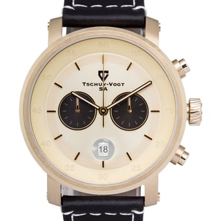 Tschuy-Vogt A20 Havoc Men's Chronograph Watch with Sapphire Crystal 44mm Case and 22mm Genuine Leather Strap