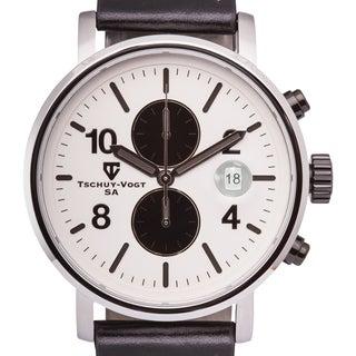 Tschuy-Vogt M60 Patton Men's Chronograph Watch Super Luminova 22mm Genuine Leather Strap