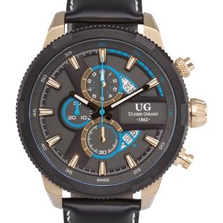 Ulysse Girard Masson Swiss Chronograph Men's Watch Stainless Steel 22mm Genuine Leather Strap
