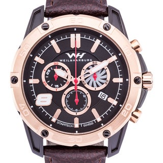Weil & Harburg Huxley Swiss Chronograph Men's Watch Screwdown Crown Genuine Leather Strap 20mm