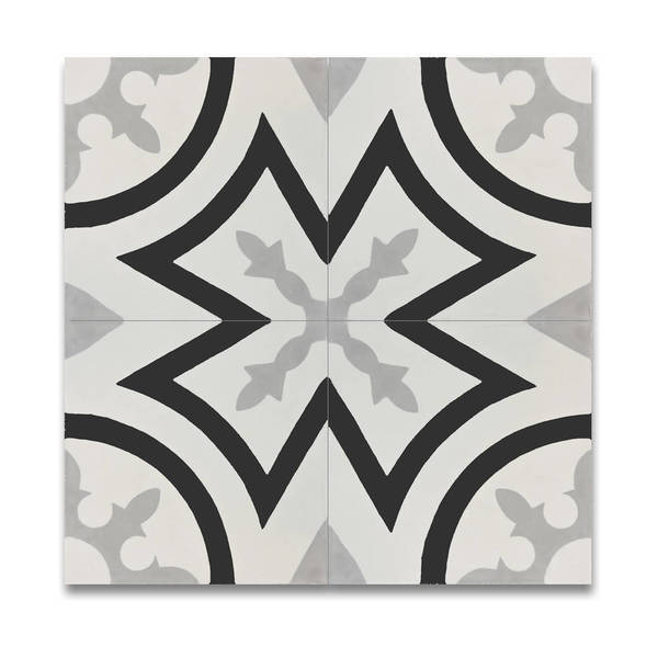 Ozod in Grey and Black Handmade 8x8-inch Moroccan Tiles (Pack of 12)