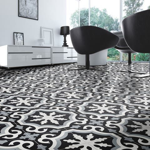 Tanger in Black, Grey, White Handmade 8x8-in Moroccan Tiles (Pack 12)