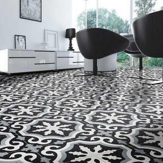 Pack of 12 Tangier Grey and Black Handmade Cement and Granite 8x8-inch Floor and Wall Moroccan Tiles (Morocco)