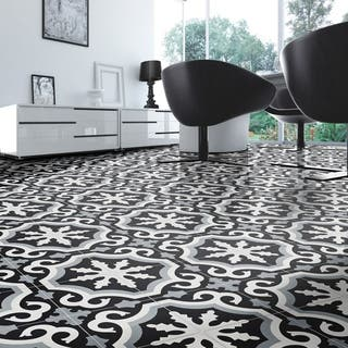 Tangier Grey and Black Handmade Moroccan 8 x 8 inch Cement and Granite Floor or Wall Tile (Case of 12)|https://ak1.ostkcdn.com/images/products/11046715/P18059254.jpg?impolicy=medium