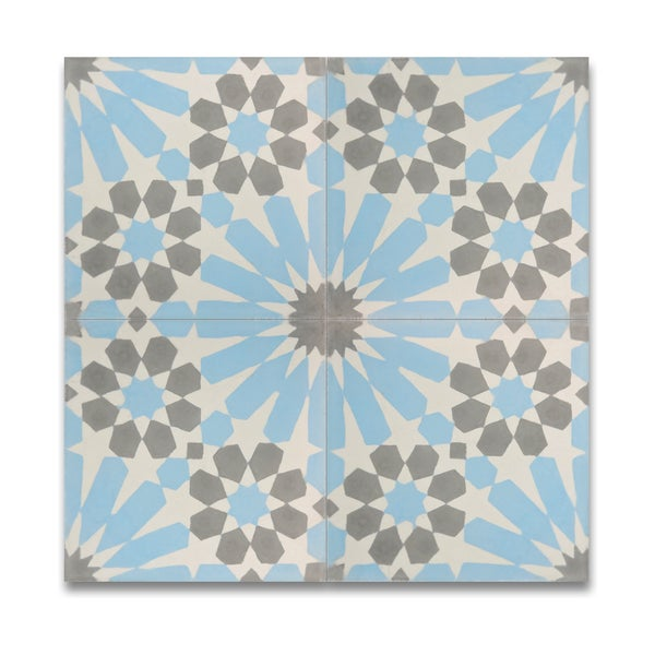 Pack of 12 agdal blue and grey handmade cement and granite for 12 inch floor tile