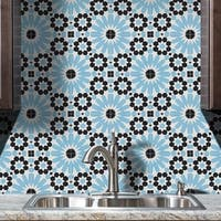 Agdal in Black and Blue Handmade 8x8-in Moroccan Tiles (Pack of 12)