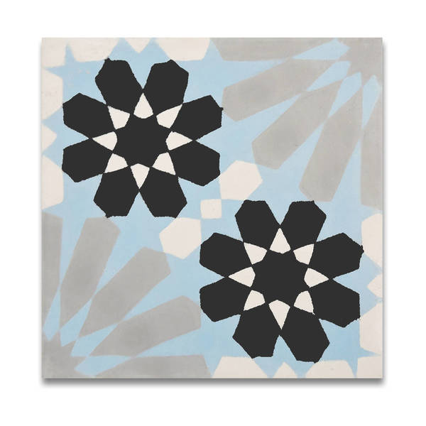 Agdal Blue, Grey, and Black Handmade 8x8-in Moroccan Tiles (Pack 12)