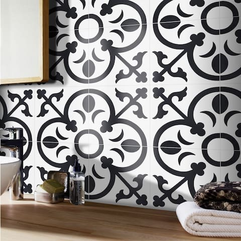 Nador in White and Black Handmade 8x8-in Moroccan Tiles (Pack 12)