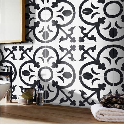 Handmade Nador in White and Black Tile, Pack of 12 (Morocco)