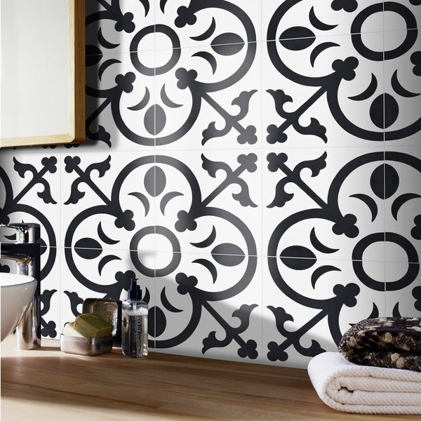 Handmade Nador in White and Black Tile, Pack of 12 (Morocco). Opens flyout.